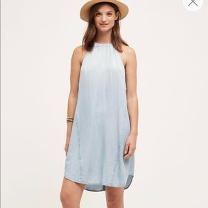 Cloth & Stone High-Tide Denim Halter Dress